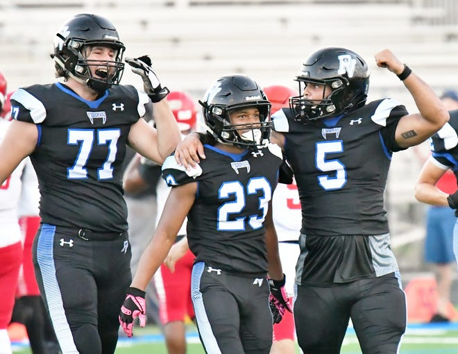 Park Vista captain Gio Thomas, right, and teammates celebrate a a lead during the second half of Saturday's game against Forest Hill.