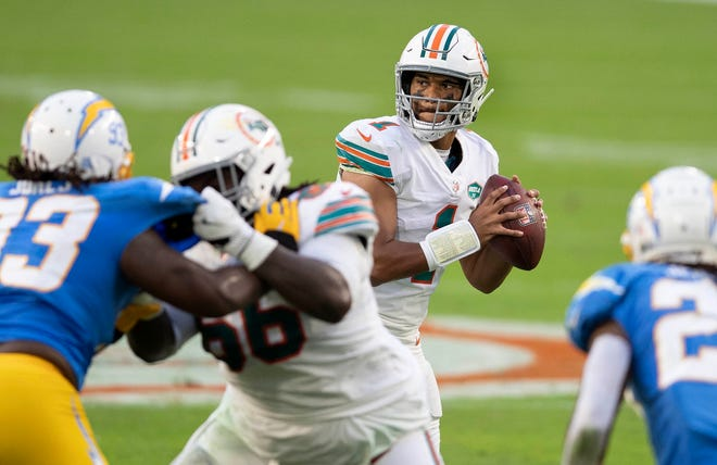 Dolphins quarterback Tua Tagovailoa drops back to pass against the Chargers during Sunday's win at Hard Rock Stadium. In the three games he's started, Tagovailoa has five touchdowns and no interceptions.