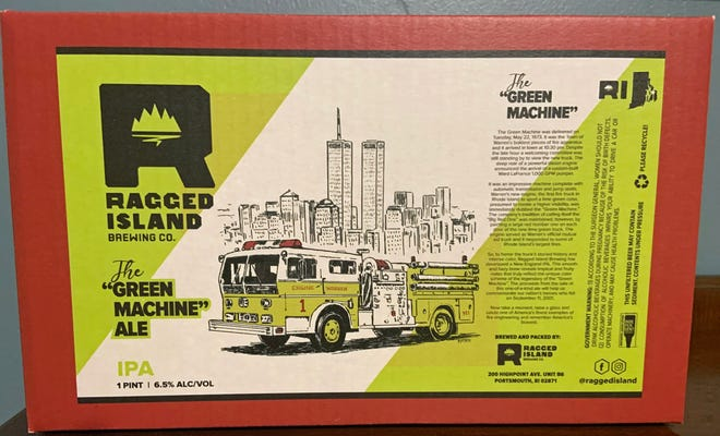 The side of the gift box whose sale benefits the Warren Fire Department features Portsmouth's Ragged Island Brewing Co. beer.