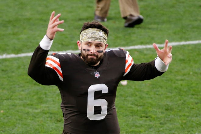 Browns quarterback Baker Mayfield celebrates after the Browns defeated the Texans in a game, Sunday, Nov. 15, 2020, in Cleveland. (AP Photo/Ron Schwane)