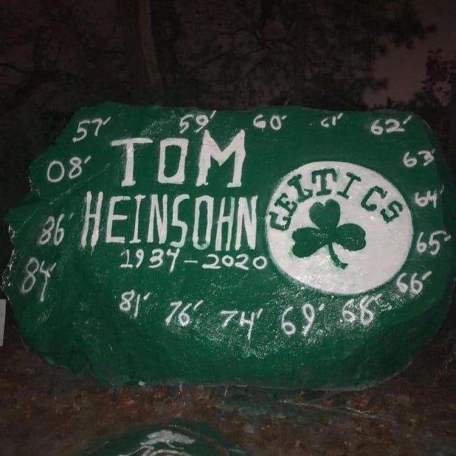 Tommy Heinsohn is mourned on Profile Rock in Clinton.