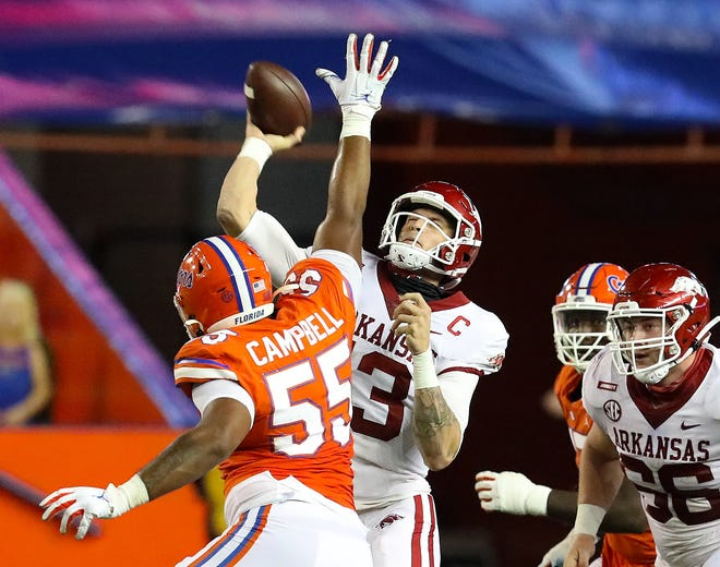 Arkansas quarterback Feleipe Franks completed 15 of 19 passes for 250 yards and two scores Saturday against his former team at Ben Hill Griffin Stadium, but the Gators won in  a rout.