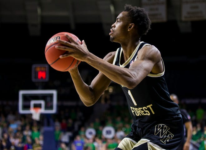 Wake Forest's Isaiah Mucius sets up for a 3-pointer against Notre Dame last season.