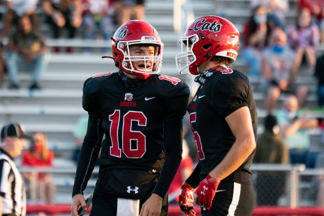 Westerville South teammates Peter Pedrozo, left, and Matthew Bame were part of an offense that averaged 46.7 points. Pedrozo was named the Player of the Year in the league and district after completing 130 of 214 passes for 2,622 yards with 30 touchdowns and five interceptions. Bame had 35 receptions for 514 yards and six touchdowns and was first-team all-league and second-team all-district. Both were among the 20-member senior class for the Wildcats, who finished 7-1.