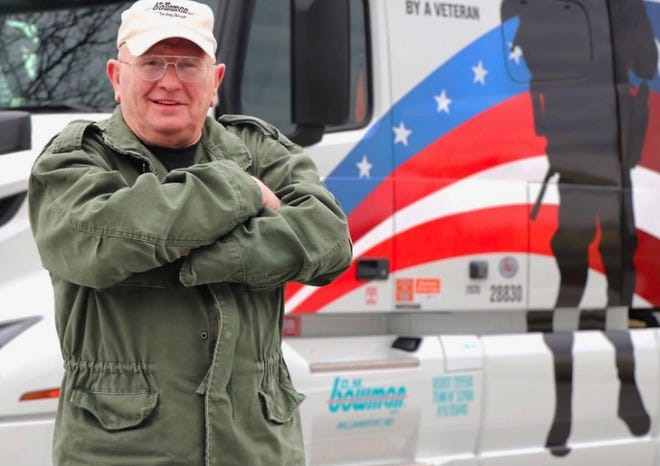Jim Lyle is one of three veterans who drive special military-themed trucks for D.M. Bowman Inc. During the month of November, the trucking company will donate $1 for every mile driven in one of the trucks to raise money for a planned veterans center in Frederick.