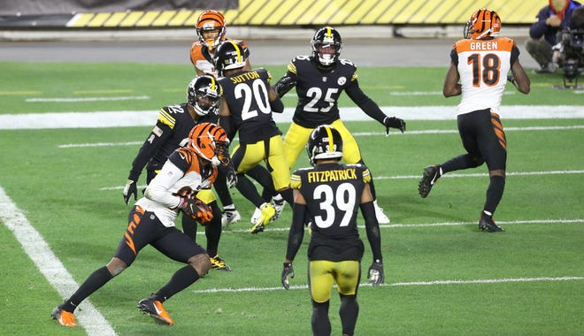 Nov 15, 2020; Pittsburgh, Pennsylvania, USA;  Cincinnati Bengals wide receiver Tee Higgins (85) scores on a two yard pass reception against the Pittsburgh Steelers during the second quarter at Heinz Field.