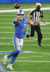 Lions quarterback Matthew Stafford got rid of the ball in the first half of the Lions' 30-27 victory on Sunday, November 15, 2020, at Ford Field.