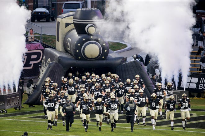 Purdue takes the field before the first quarter of a NCAA football game, Saturday, Nov. 14, 2020 at Ross-Ade Stadium in West Lafayette.