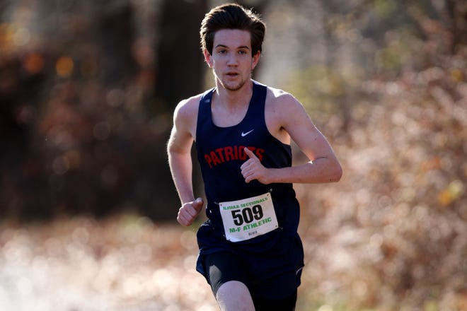 Jack Kellaher, of North Warren, is shown near the halfway point of the NJSIAA XC Sectionals North 1 Group 1 Boys race, at Garret Mountain Reservation. Saturday, November 15, 2020