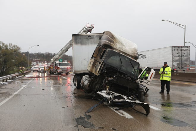 Just after 8 am on Sunday a westbound semi truck carrying advertising mail crashed near the I70 bridge over Fifth Street in Downtown Zanesville. No one was injured in the wreck and resulting fire, but emergency personnel expected to spend most of the day cleaning up.