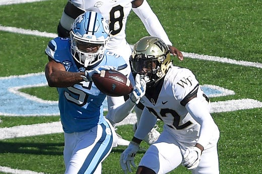 Dazz Newsome was on the receiving end of 10 Sam Howell passes in North Carolina's comeback win over Wake Forest. Two of his grabs were touchdowns, and he ended the day with 189 yards receiving.