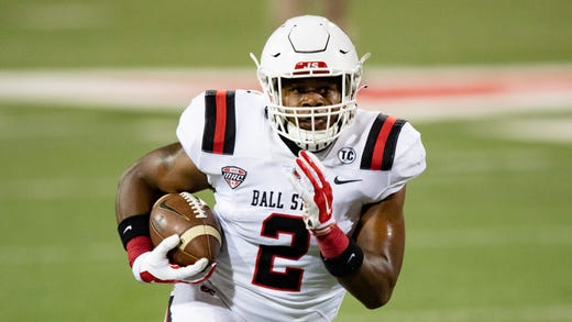 Ball State running back Caleb Huntley carried 34 times for 204 yards and three touchdowns as the Cardinals took down