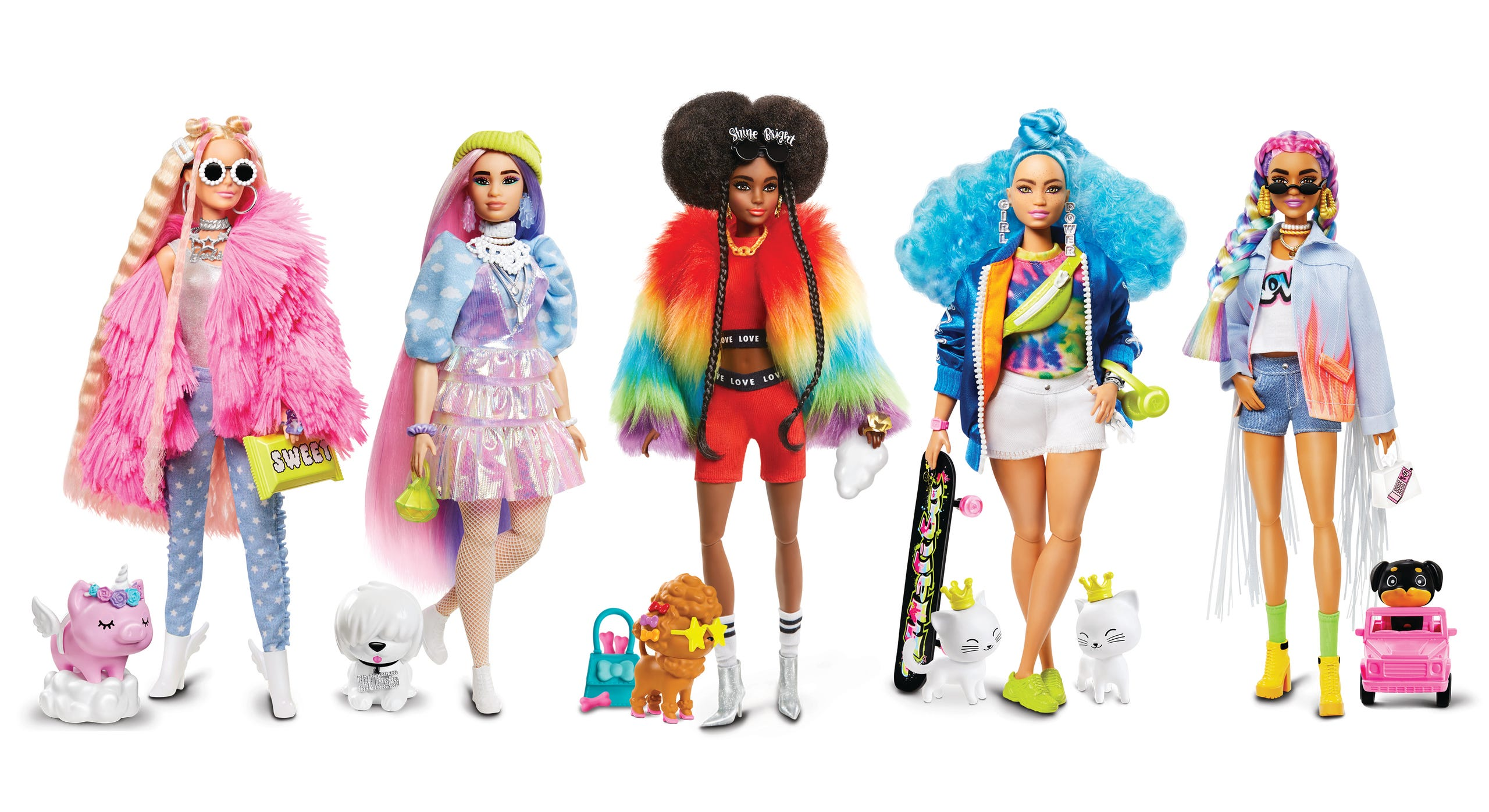 There are five dolls in the new Barbie Extra line. each selling for a suggested retail price of $24.99 at Target, Walmart and Amazon.