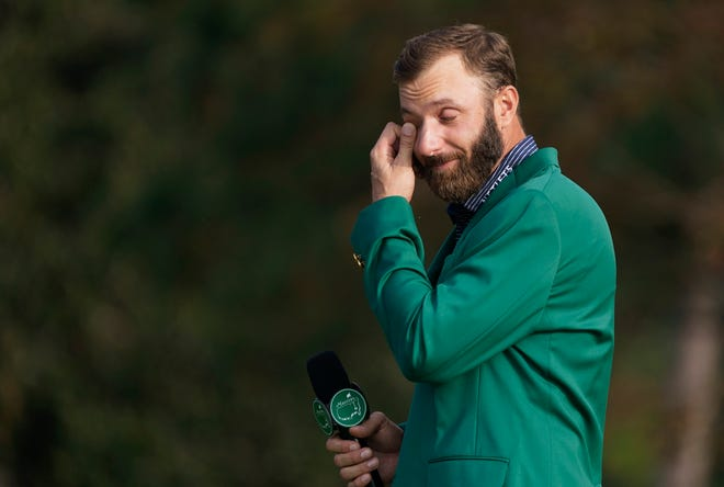 Dustin Johnson gets emotional after winning The Masters.