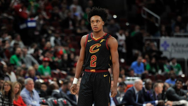 The Cavaliers' Collin Sexton (2) looks on during the first half of a game against the Chicago Bulls on March 10, 2020, in Chicago. Chicago won 108-103. (Paul Beaty/Associated Press)