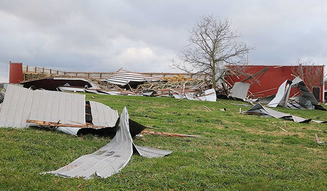 This barn by Rohrs Lake in the Nova area was damaged in Sunday's storm.