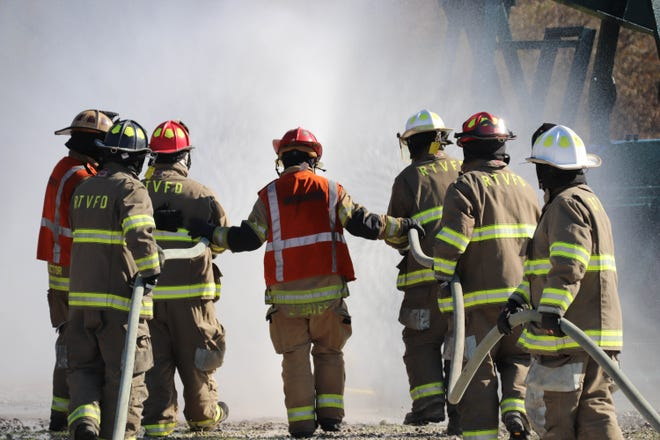 Firefighters from the Ruggles-Troy Fire Department in Ashland County receive hands-on natural gas and oil training recently at the new Wayne County Fire & Rescue Regional Training Facility, courtesy of the Ohio Oil and Gas Energy Education Program.