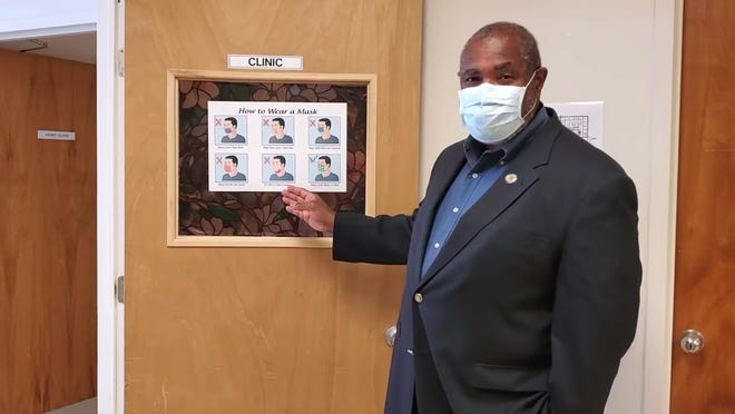 Burlington County Director of Health Herb Conaway instructs residents on the proper way to wear a mask in a video posted to Burlington County's Facebook page on Monday, Nov. 16.
