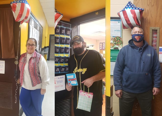 Belinda Thompson, Chris Herriman and Russell Hein are Hometown Heroes and veterans working in the Bunceton School District. They were celebrated on Veterans Day. Thompson also helped organize a drive-thru Veterans Day event at the school with the help of the school's National Honor Society