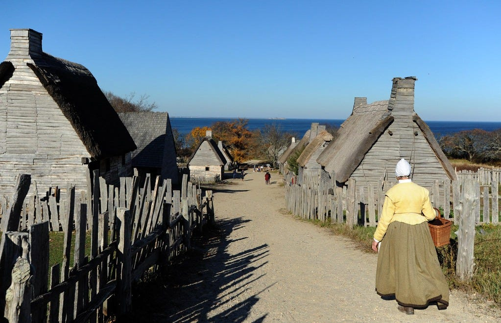 A scene from the Pilgrim Village at Plimoth Patuxet living museum in Plymouth earlier this month.