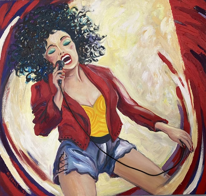 """""""Lead Singer,"""" by artist Bill Evaul, whose work is in a retrospective exhibit at Cape Cod Museum of Art in Dennis."""