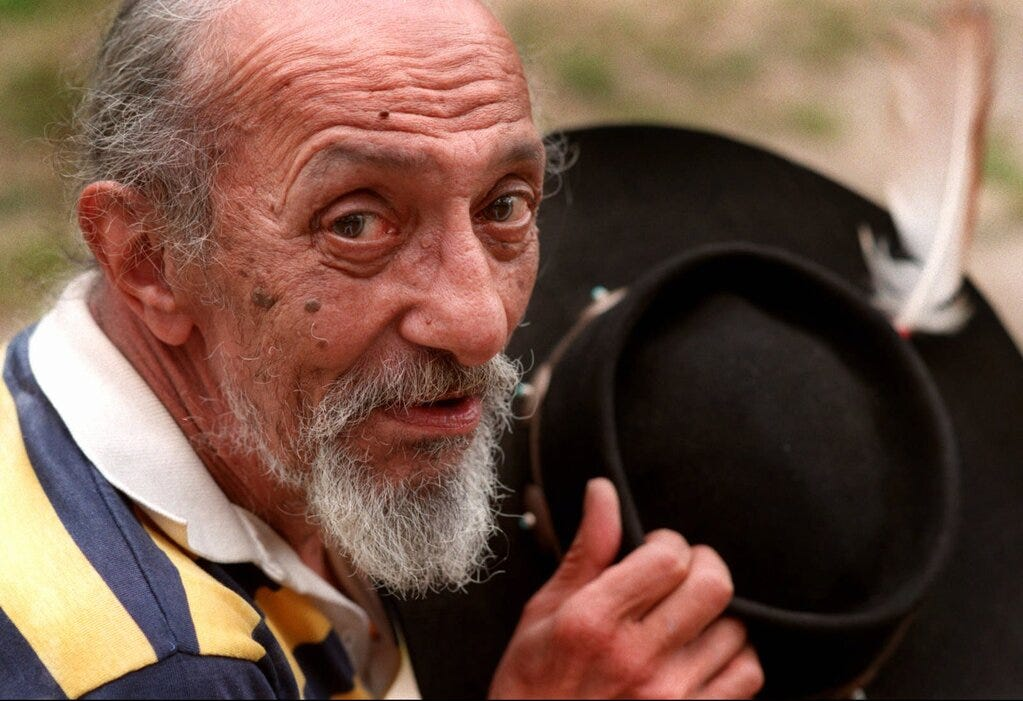 """Frank """"Wamsutta"""" James, Aquinnah Wampanoag elder, poses with his trademark hat in 1995. James died in 2001 at the age of 77."""