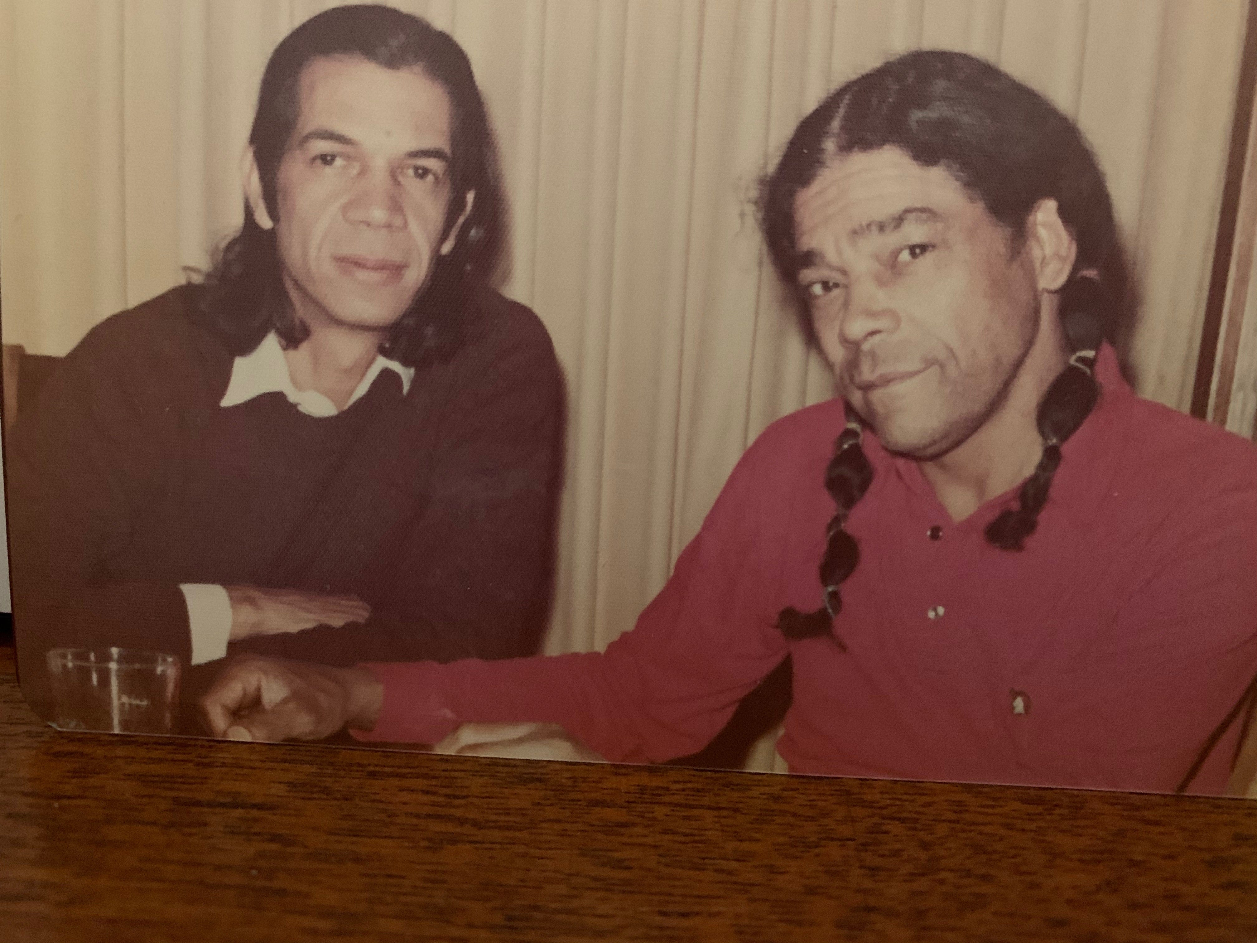 """James """"Gray Hawk"""" Fraser, left, and Gary """"Corn Planter"""" Parker in the 1970s. Fraser and Parker were among six Native Americans who established the National Day of Mourning in 1970."""