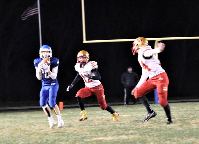 Southwest Livingston High School Wildcats senior end/cornerback Parker Keeney gathers in a Wes Hughes deep down field in the fourth quarter of SLHS' 34-22 8-man football District 2 championship-game home win over North Shelby this past Friday. Keeney caught six passes for 87 yards and two touchdowns on offense and participated in 15 tackles on defense as the Wildcats advanced to the state semifinals for a second-straight year. They'll host Drexel/Amoret: Miami at 7 p.m. Friday, Nov. 20.