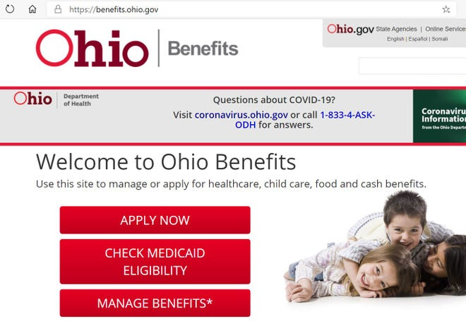 Screen shot of the Ohio Benefits website portal