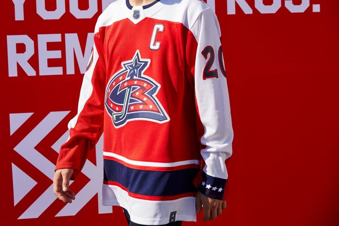 "A look at the Blue Jackets ""reverse retro"" jersey."