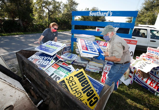 Tonya Pecoroni, president of Southard's Recycling, and DeLand resident Fred Peace place campaign signs into a front loader on Monday, Nov. 16, 2020, so the signs can be baled at the New Smyrna Beach recycling business and eventually shipped to KW Plastics in Alabama where they'll be turned into paint cans. The effort to recycle campaign signs was started by Peace's wife Suze Peace.