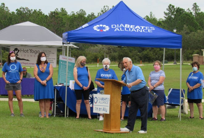 Tony Papandrea, Chairman of the AdventHealth Foundations of Palm Coast & Hospice Care East Florida, addresses those assembled and via livestream in recognition of World Diabetes Day as part of the DiaBEATes Alliance, on Saturday, Nov. 14.