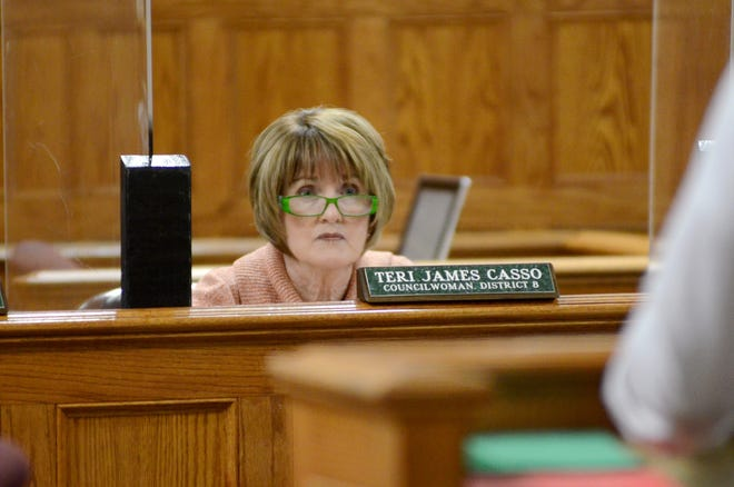 Ascension Parish Council Chair Teri James Casso listens to a speaker during a meeting held earlier this month.