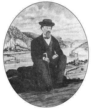 A self-portrait of Albert Ruger, appropriately seated before a panorama that included such details as locomotives and steamboats, which were prevalent in his maps.