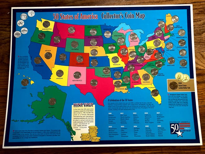 A Collector's Coin Map with a quarter for each of the 50 states plus a U.S. dollar coin that was completed by Dana Massing and her daughter, Rose Massing, with the help of some friends.