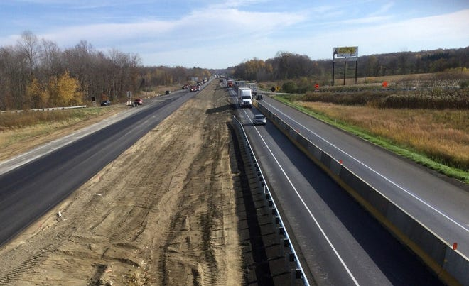 The lanes shift for construction on Interstate 90 in Springfield Township is shown in this Nov. 13 photo.