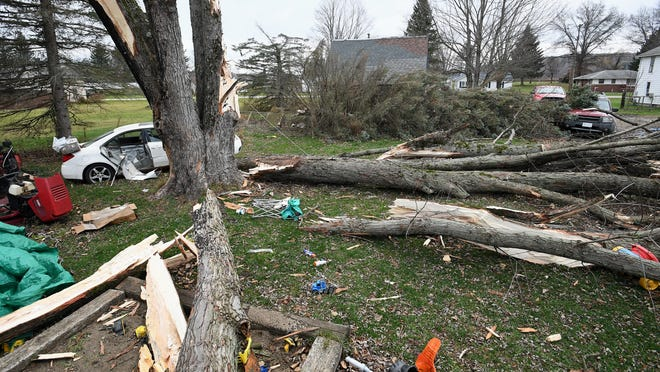 There were no injuries, but several trees were blown over around this house along Jamestown Street in Wattsburg during high wind conditions on Sunday.