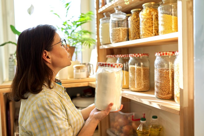 Staples that are good to have in your pantry include rice, pasta, sugar, flour, breadcrumbs, dried spices and oils.