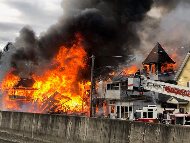 The City of Hornell Fire Department responds to the massive Nov. 17, 2019 fire on Preston Avenue.