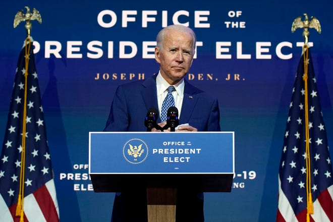 "President-elect Joe Biden speaks at The Queen theater in Wilmington, Del., on Nov. 9. Biden says he wants to ""restore the soul of America."""
