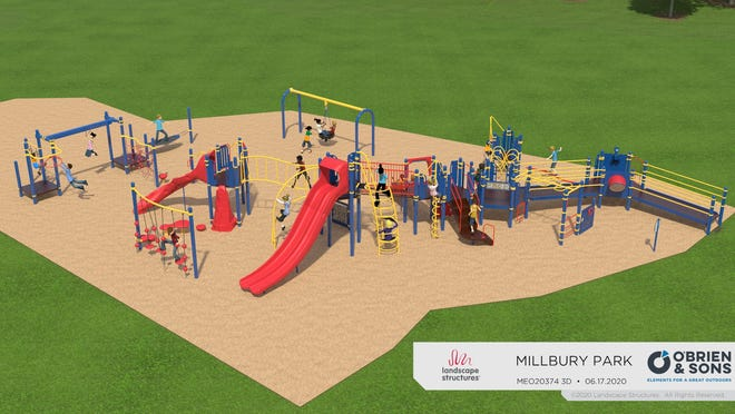 Design rendering of Woolie World playground in Millbury by O'Brien & Sons