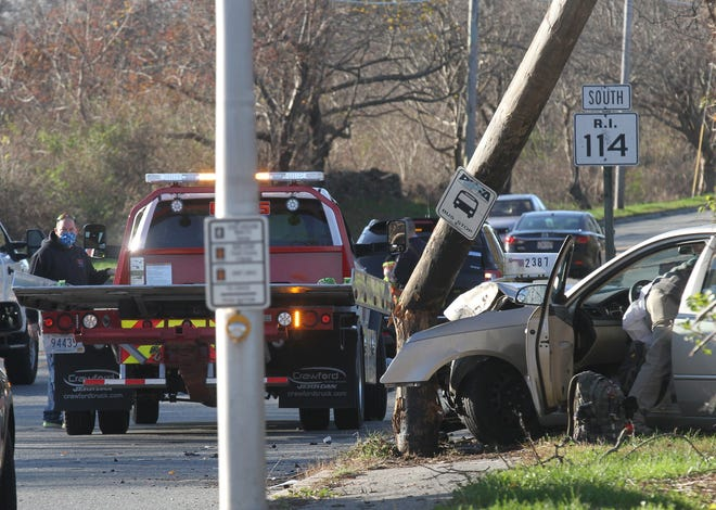 A car struck a support pole Monday morning at the intersection of West Main Road and Union Street in Portsmouth.
