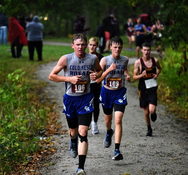 Senior Chevy Dunlap (left) and junior Ben Rouse were two of the top runners for a competitive Colo-NESCO boys' cross country team in 2020.