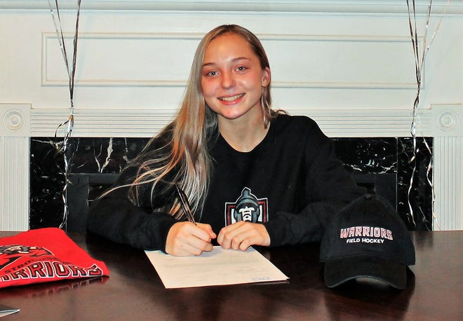 Camden senior Mackenzie Mix recently signed a National Letter of Intent to East Stroudsburg University in Pennsylvania, where the multi-sport star will compete on the Division II program's field hockey and track and field teams.