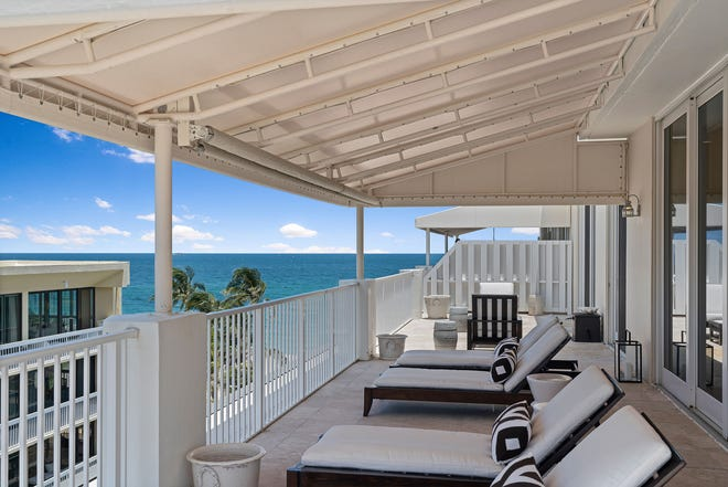 The Atlantic is the focal point from a balcony off the master bedroom of Vere and Susie Gaynors' penthouse at Lowell House.