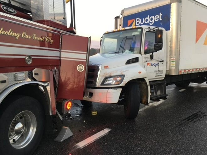 "Dover's Ladder Truck 3 sustained what is being described as ""significant damage"" during a Saturday, Nov. 14, 2020 incident on the Spaulding Turnpike."