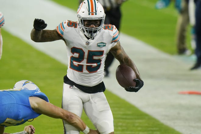 Dolphins cornerback Xavien Howard returns an interception 28 yards to set up a fourth-quarter touchdown. Howard intercepted a pass from Justin Herbert intended for Mike Williams.