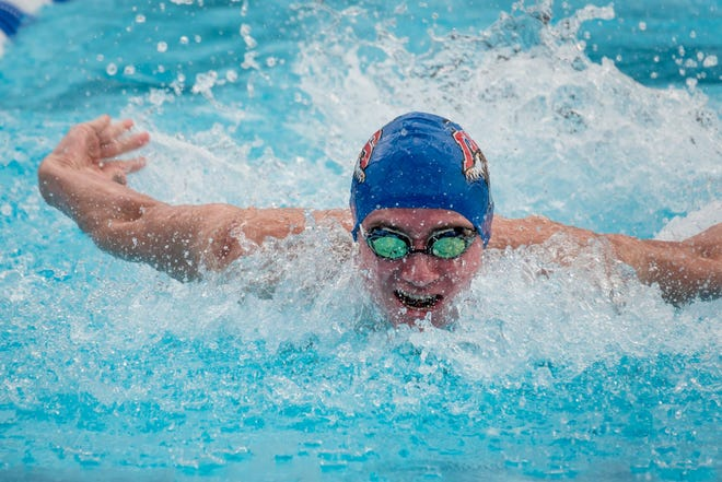King's Academy junior Joshua Zuchowski competes in the 200-yard individual medley, which he won in a lifetime best 1:46.85 Sunday at the Class 1A Swimming and Diving State Championships in Stuart.