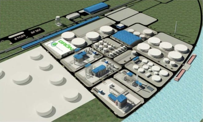 An artists rendering of a potential renewable fuel complex at the Port of Greater Baton Rouge.