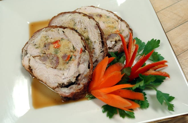 This lovely roulade is the result of going through the steps of making stuffing and then rolling out a turkey breast.